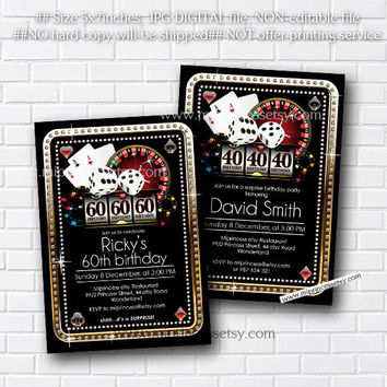 Poker Playing Card Gold birthday invitation, Casino theme gold glitter design invitation for any age 30th 40th 50th 60th 70th 80th card 476