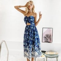 Vintage Print Bow Backless Halter Chiffon Flower Lace Up Long Dress