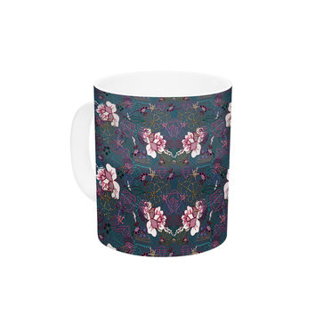 "DLKG Design ""Cool Stitch"" Purple Navy Ceramic Coffee Mug"