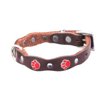 Pet Dog Supplies Dog Leather Breathable Collar Silver With Foot Pattern For Small Dogs