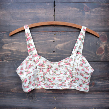 soft floral caged bralette - vintage rose