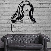 Hair Wall Stickers Gun Sexy Woman Barber Salon Tools Hairdryer Decal Unique Gift (ig2491)