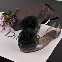 Flower Lace Transparent Peep Toe Slip On Beach Flat Sandals Slippers