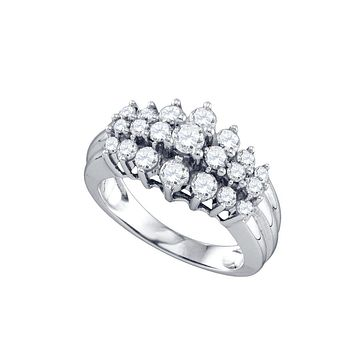 10kt White Gold Womens Round Diamond Cocktail Cluster Ring 1.00 Cttw