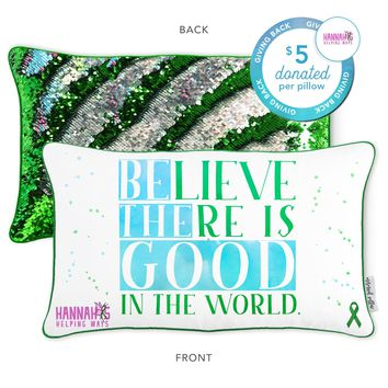 Believe There is Good in the World Mermaid Pillow with Grass Green & Silver Reversible Sequins