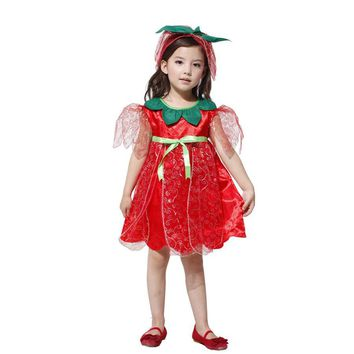 MOONIGHT Red Party Dress Fairy Costumes For Kids Girls Children Cosplay Performance Clothing Carnival