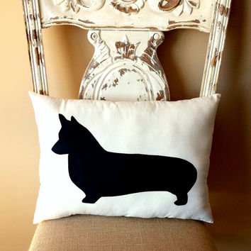 Corgi,Welsh Corgi Dog Silhouette Throw Pillow, Decorative Pillow, Home Decor, Pets, Dog Pillow, Dorm Decor, Sofa Pillow **FREE SHIPPING**