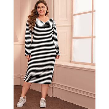Plus Striped V-neck Fitted Dress