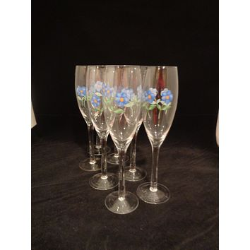 Champagne Flutes With Blue Flowers  S/7