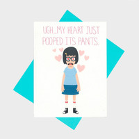 Funny Anniversary Card - My Heart Just Pooped Its Pants - Funny I Love You Card - Happy Anniversary - Anniversary Card - Card For Boyfriend