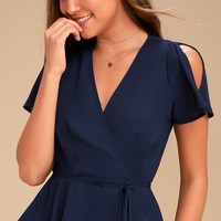 Think Chic Navy Blue Peplum Wrap Top