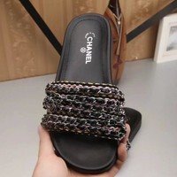 Chanel shoes, new 17 Spring Chain slippers, silk and satin sandals H-TFDXY-XNEDX One-nice™