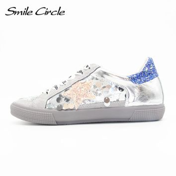 Smile Circle 2017 Spring Autumn Style Women Shoes Genuine Leather Lace-up Flat Shoes Women sneakers Fashion Star Platform shoes