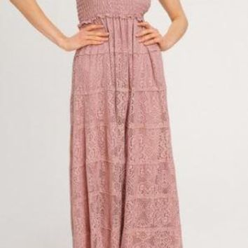 Lace Maxi Dress With Smocked Bodice