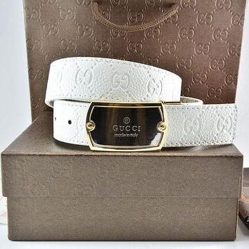 Gucci Men Fashion Smooth Buckle Belt Leather Belt