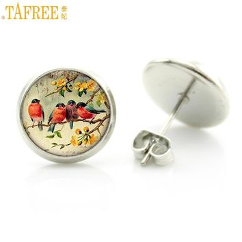 TAFREE vintage women charms antique birds art stud earrings wedding party jewelry fashion peacock hummingbird earrings D1470
