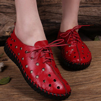 Black/Red Handmade Leather Flat Shoes Women,Round Toe Shoes, Soft leather Shoes,Oxfords&Tie Shoes, Hollow hole shoes,Strappy shoes