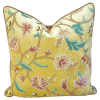 Schumacher Crewel  & Velvet Pillow