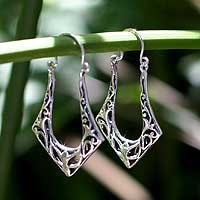 Sterling silver hoop earrings, Horseshoes