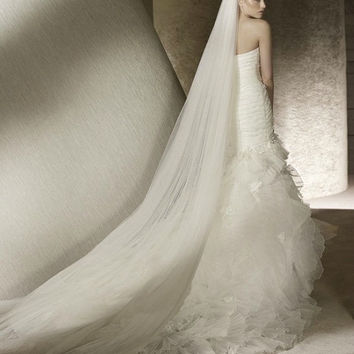 Plain Two-Tier Cathedral Length Tulle Veil With Raw Edge | Cathedral Wedding Veil | Long Wedding Veil | Long Bridal Veil | White Veil VG1010