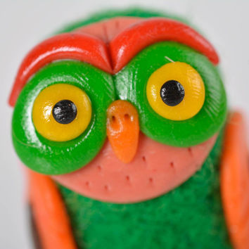Wool felted unique toy handmade owl figurine gift interior decoration toy