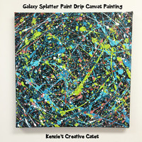 "18""x18"" Galaxy Splatter Paint Drip Canvas Painting"