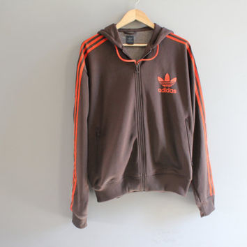 US Free Shipping Adidas Hoodie Trefoil Big Logo Brown Hooded Sweatshirt Adidas Zip Up Hoodie Adidas Jacket Vintage Minimalist 90s Size L
