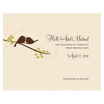 Love Bird Save The Date Card Spring (Pack of 1)
