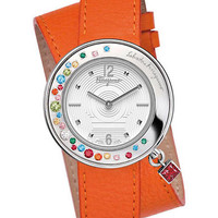 Ferragamo Ladies Gancino Silver-Tone and Leather Watch