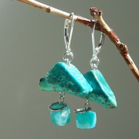 Chrysocolla and Russian Amazonite Boulder Earrings