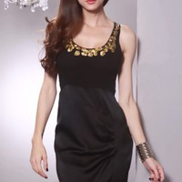 Black Scoop Neck Sequin Decor Neckline Contrast Tone Sexy Mini Dress