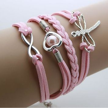 Dragon Fly - Pink Leather Wrap Infinity Bracelet