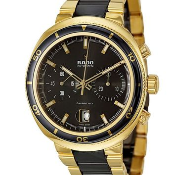 Rado D Star Chronograph Automatic Yellow Gold PVD and Black Ceramic Mens Watch R15967162