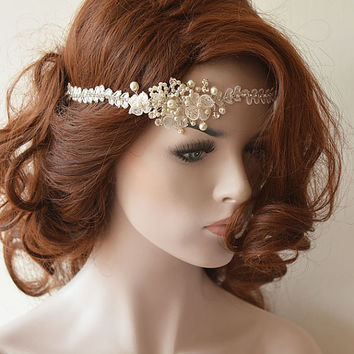 Wedding Hair vine, wedding head piece Halo headband,   Ivory Lace Bridal headband, Bridal Hair Accessory, Wedding Hair Accessories