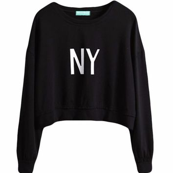 New York NY Cropped Pullover Sweatshirt