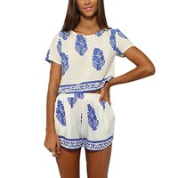 Finejo Vintage Style Women 2 Pcs Leaf Pattern Bohemian Crop Tops+Shorts Set