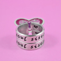 soul sister - Hand Stamped Spiral Rings Set, Shiny Aluminum Band Rings,Gift for Sisters