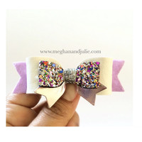 Lavender and white glitter hair clip, Girls Spring hair clips, white leather bow, Baby Girls Sparkling Hair Bow, Birthday hair accessory