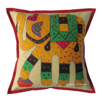 """16"""" Indian Elephant Patch Embroidered Cushion Pillow, Ethnic Pillow, Cottage Pillow, Tribal Pillow, Vintage pillow"""