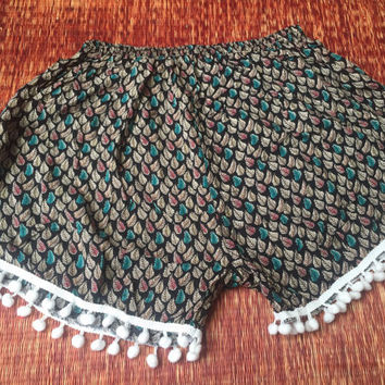 Boho leaf print Shorts pom pom hem Trending print comfy fabric Clothing Bohemian Gypsy Fashion Beachwear Summer gift for her green black