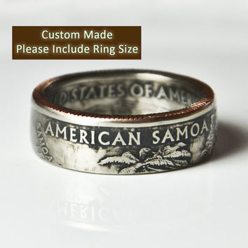 Custom Made / Sizes 5-12 / American Samoa Coin Ring (Please include size in purchase notes)