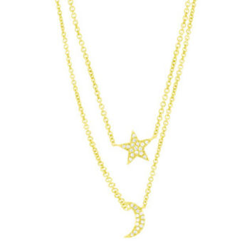 0.09ct 14k Yellow Gold Diamond Pave Moon & Star Necklace