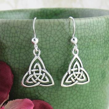 Celtic Trinity Knot Earrings in Sterling Silver