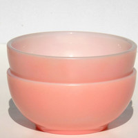 1940s Fire King Pink Cereal Bowls, Set of 2, Vintage Milk Glass ChiliBowl