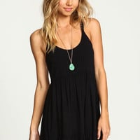 BLACK TIERED CREPE T STRAP DRESS