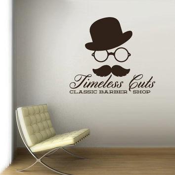 Wall Vinyl Sticker Decals Decor Trend Hipster Hat Mustache Haircut Salon Hairdresser Fashion Timeless Barber Shop Sign Quote (z3085)
