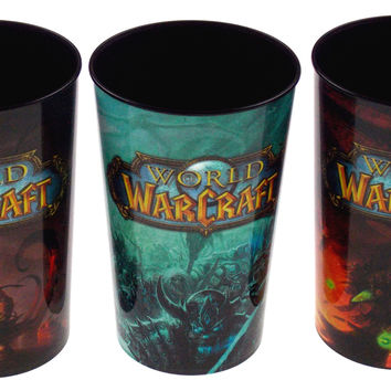 Blizzard Entertainment World of Warcraft WoW Set 3 Plastic Cups 32 Oz Collectors