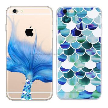 DCCKHY9 Beautiful Mermaid Scales Ultra Thin Soft Tpu Phone Case Coque For Apple Iphone 6 6s Plus Rubber Funda Cover