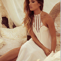 White Halter Neck Cut Out Sleeveless High Slit Maxi Dress