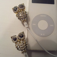 Crystal Owl earbuds by HoneyBadgerBuds on Etsy